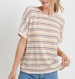 Multi striped twisted back top
