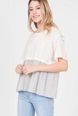 Ivory knit combination poplin top