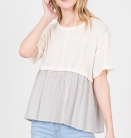 Ivory knit combination poplin top