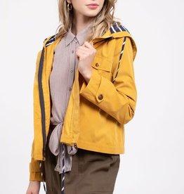 Mustard hooded jacket w/contrast lining