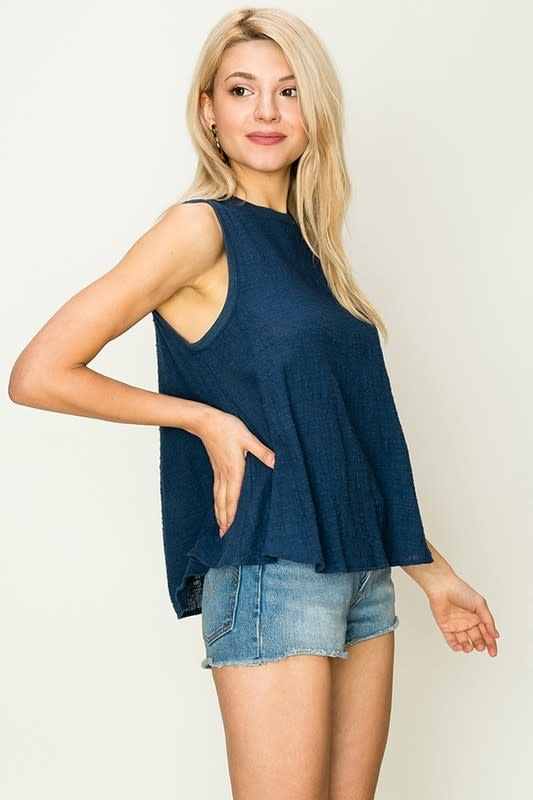 c9307c1d75ab68 Linen blend sleeveless swing top Linen blend sleeveless swing top ...