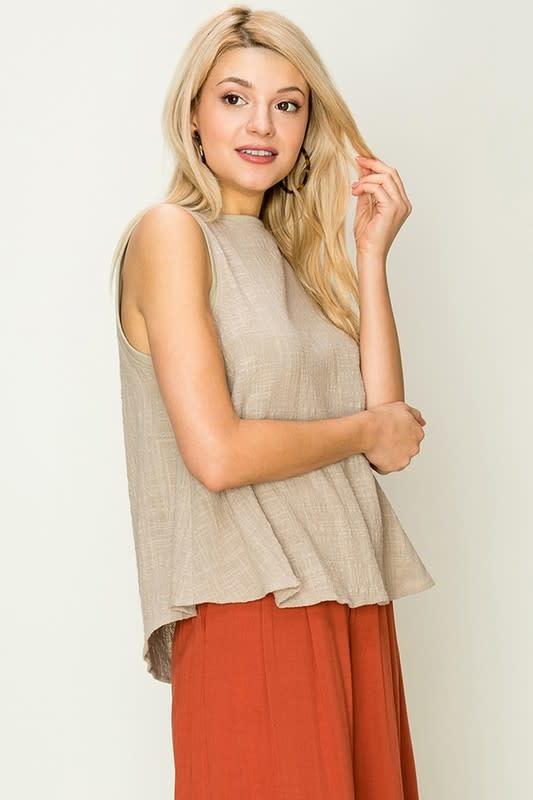 d9df6274f4b505 Linen blend sleeveless swing top - Image Boutique