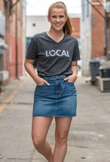 Charcoal V neck local tee