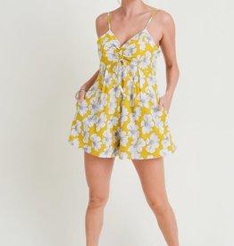Mustard floral print romper