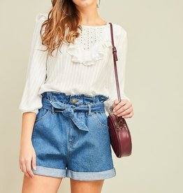 Paper bag denim shorts w/tie