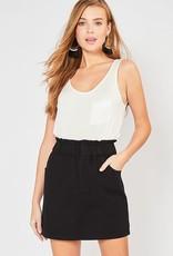 Black paper bag denim skirt