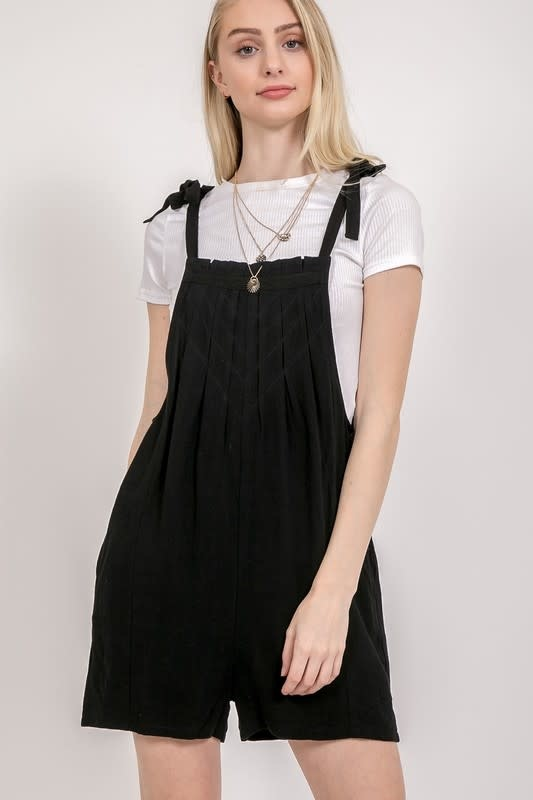 Tie strap pleated overall shorts