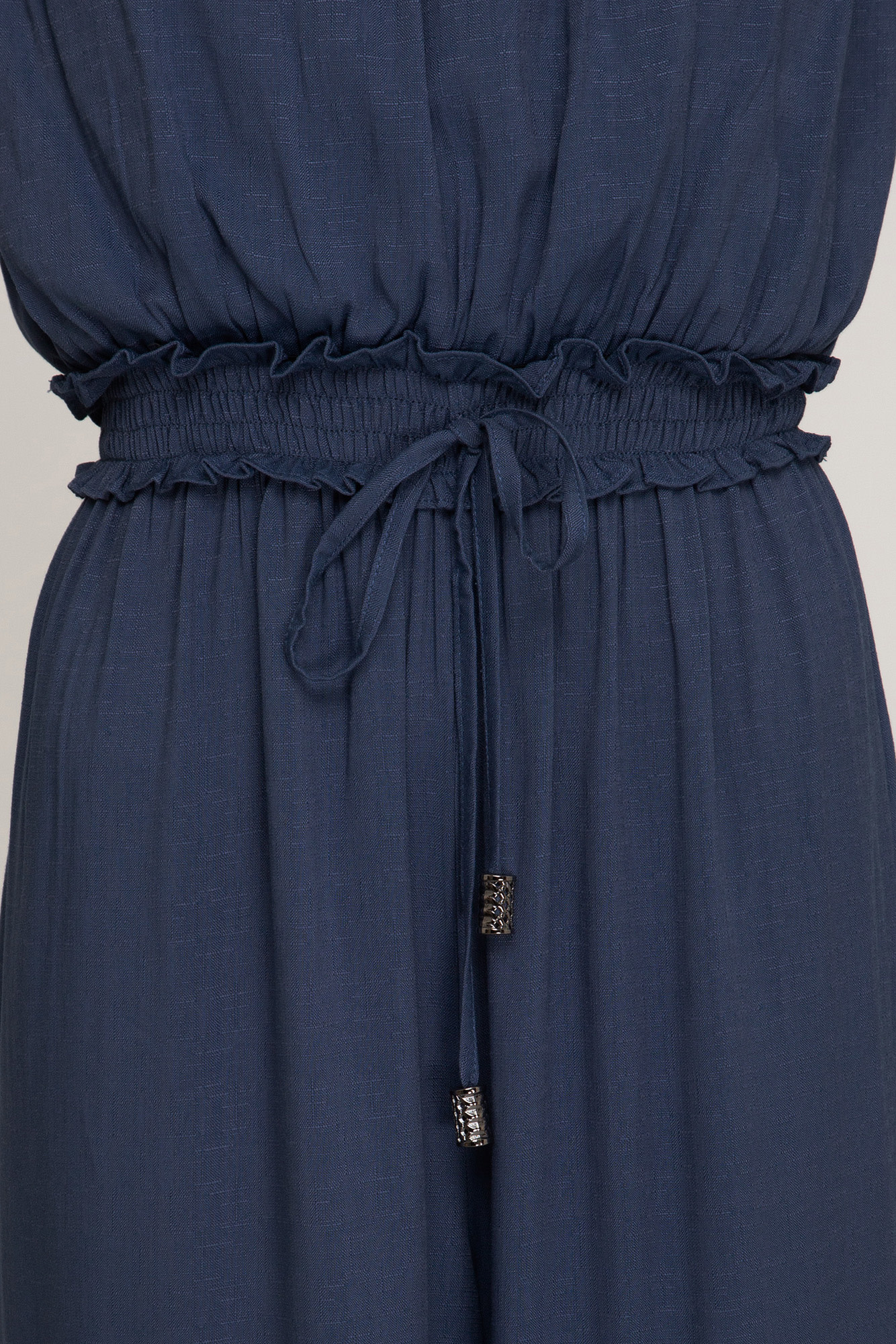 Dusty blue woven strapless wide leg jumpsuit