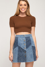 Two tone denim skirt with front button down close