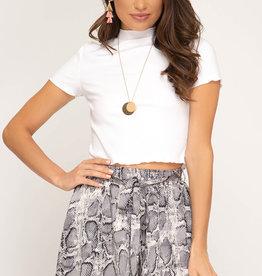 Grey snake skin print shorts w/elastic waist & tie