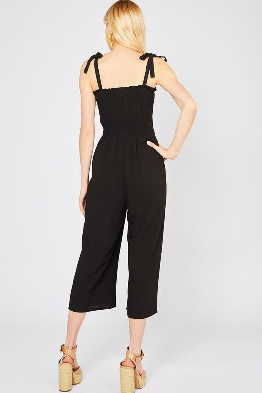 Black smocked jumpsuit w/tie straps