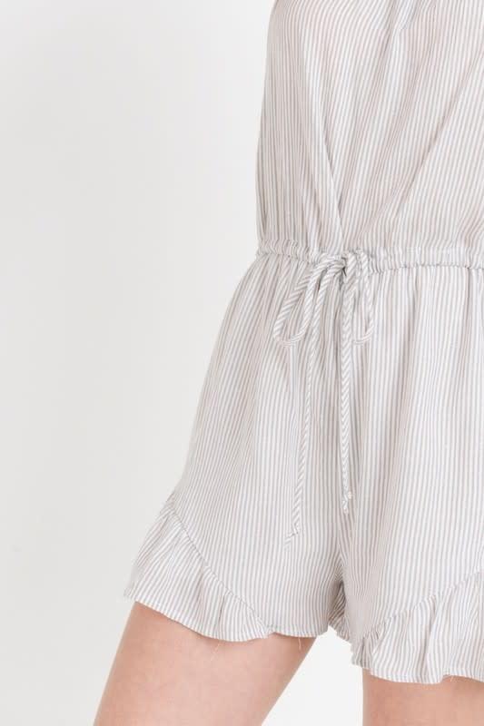 White & H grey pin stripe romper