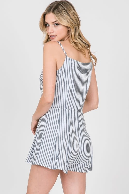White & blue striped pleated overlapped front romper