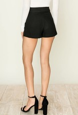 Black button detail shorts