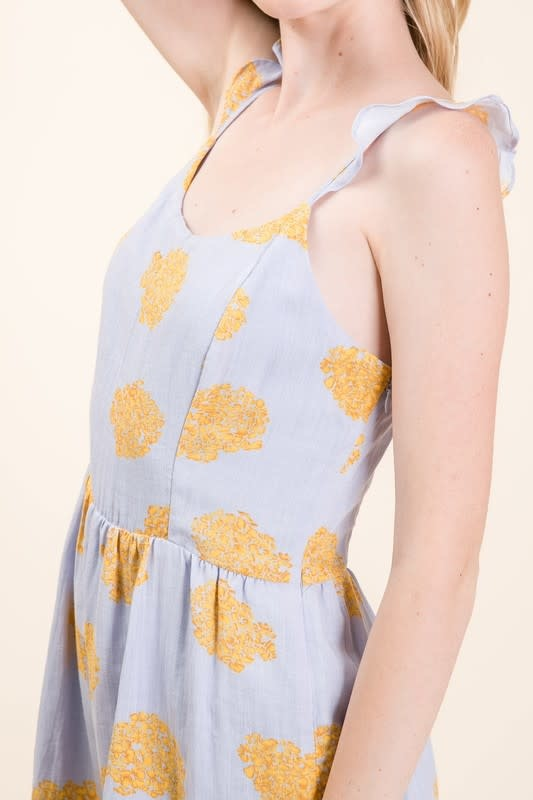 Lilac & yellow floral print romper