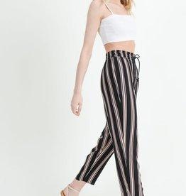 Black striped jogger pants