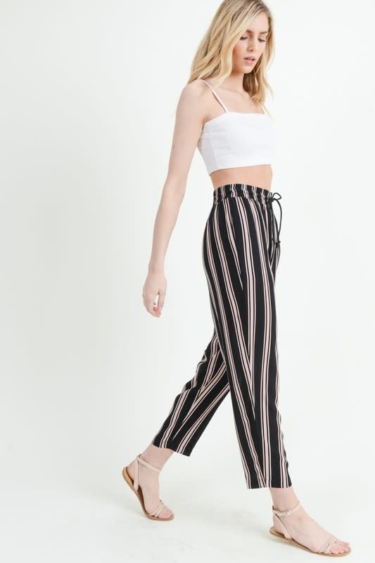 Black striped jogger pants