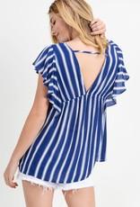 Navy & white flutter sleeve top