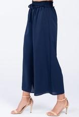 Navy w/smocking waist tie front pants