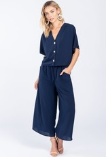 Navy ss button front top