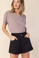 Black elastic waist denim shorts