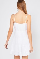 White scoop neck tiered dress w/front tie
