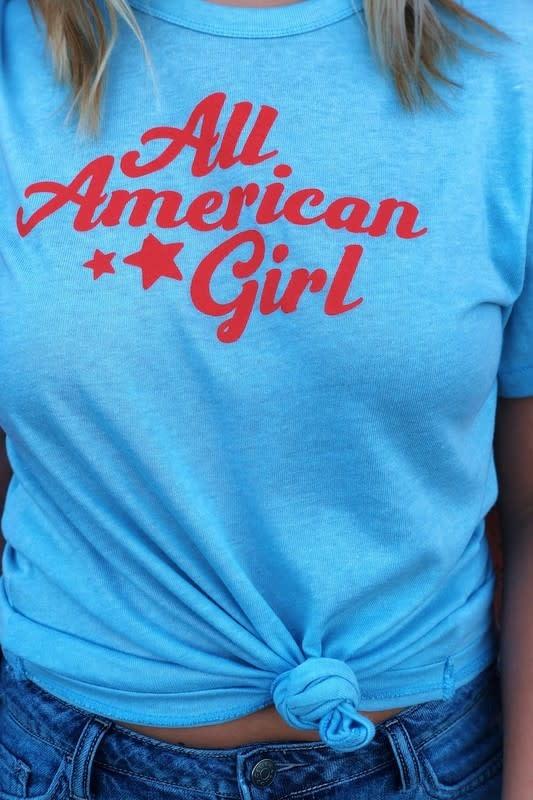Lt blue All American Girl tee