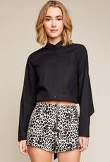 Leopard print high waist shorts w/front zipper