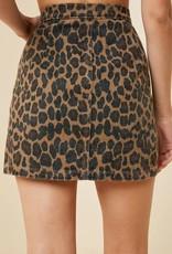 Leopard print denim skirt w/front zipper