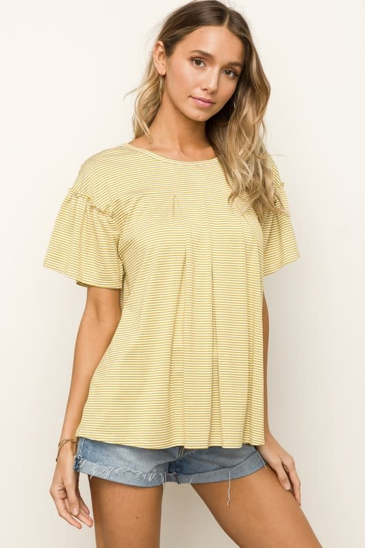 Mustard stripe ruffle sleeve top