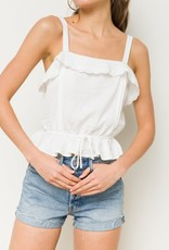 White crochet ruffle peplum top