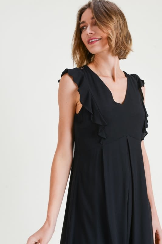 Black flutter sleeve dress w/lace back