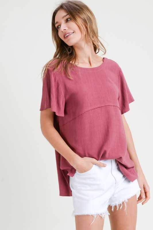 Flare sleeve top w/band back detail