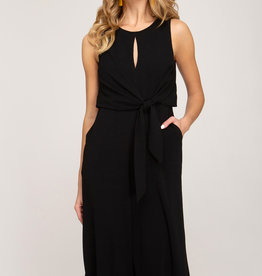 Sleeveless jumpsuit w/keyhole front & side tie