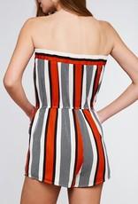 Red combo stripe strapless romper
