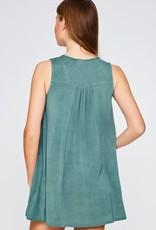 Sage sleeveless top w/smocked detail