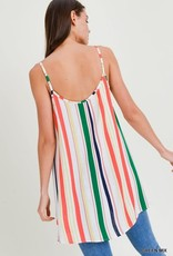 Green multi stripe tank tunic