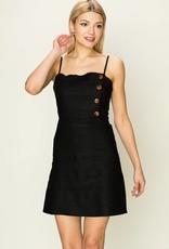 Side button detail linen dress