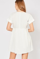 Off white textured baby doll dress