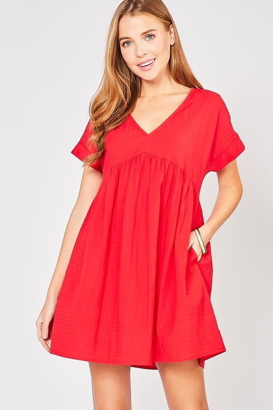 Red textured baby doll dress