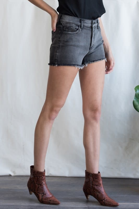 Faded black mid rise denim shorts