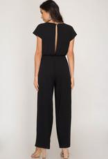Black ss jumpsuit w/tie front
