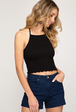 Black smocked halter crop top