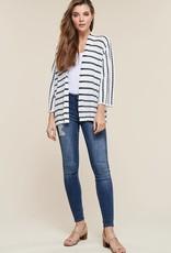 White & navy striped cardigan