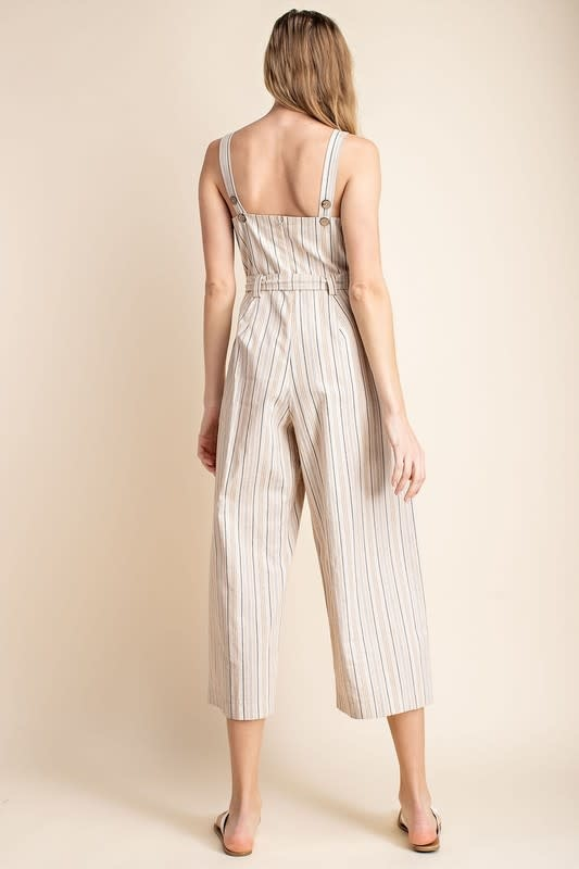 Neutral multi stripe belted jumpsuit