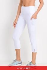 White high waist side mesh capri legging