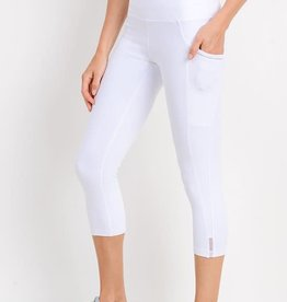 White high waist side mesh capri legging