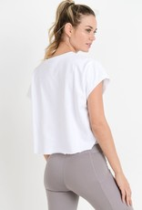 SS boxy flowy crop top w/raw edges
