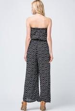 Black tribal print strapless jumpsuit