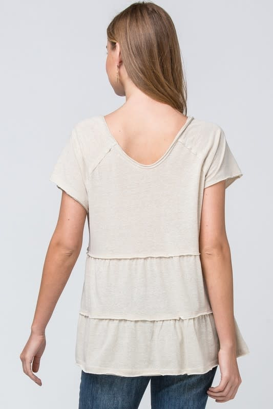 SS tiered V neck top